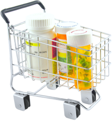 bottles of medicines in cart
