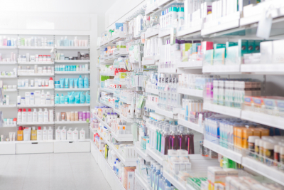 display of available medicines inside the pharmacy